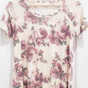 Ivory & Purple Floral Top